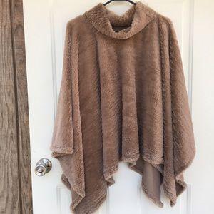 Sweaters - Brown cowl neck poncho cape shrug shawl